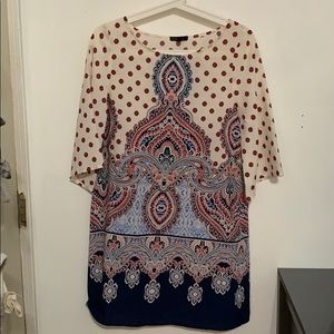 A-line Paisley 3/4 Sleeve Dress